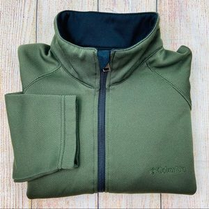 COLUMBIA Green Black Mesh Fleece 1/4 Zip Pullover